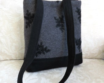 JAMES Shoulder Bag in Gray and Black Wool, Eco Friendly Upcycled Sweater Wool Purse
