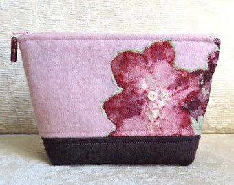 Floral Lace Zip Pouch in Pink and Plum, Eco Friendly, Upcycled Lace and Felted Sweater Wool Clutch