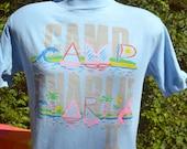 vintage 80s t-shirt CAMP CHARLIE sail boat nature summer tee Medium Small blue preppy
