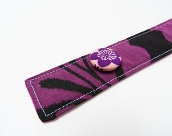 Kimono cuff bracelet, purple and black decorative bracelet