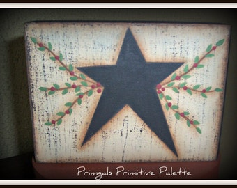Primitive Black Star Vine Wood Shelf Sitter Block Home Decor