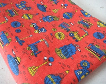 Vintage Fabric, Transportation, Primary Colors, Red, Blue, Yellow, Craft, Decor, Trains, Ships, Bicycles, Submarines, Hot Air Balloon,Sewing