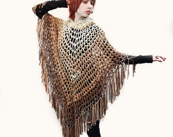Hooded Poncho crochet boho gypsy ivory taupe brown