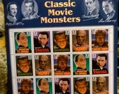 Full sheet Universal Monsters Postage Stamps,Werewolf Frankenstein Dracula Mummy  - free US shipping