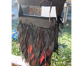 Black and Rust Fringe - 100% Recycled Leather Scraps - Cross Body Pouch