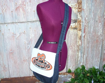 Freeport Pretzels Messenger Bag Purse made from New and Recycled Materials ooak