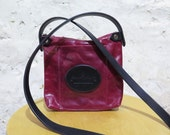 Cherry Red Leather Shoulder Bag with Logo Pocket