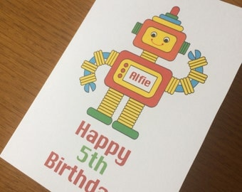 Little boy's robot birthday card - multi color - Personalised for you with name & age