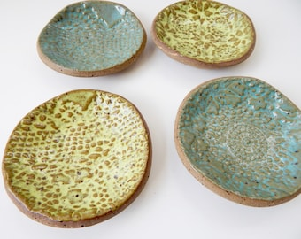 Lace prep bowls - cottage decor- jewelry dishes- sauce bowls - Blue and green- set - Food prep- Jewelry holder- stackable bowls- salt cellar