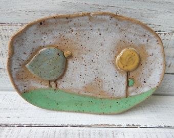 Whimsical Bird Soap Dish- Spoon Rest - Bird Soap Dish - Ceramic Spoon rest - Bird pottery- Trinket Dish- Jewelry Holder- plate- bird plate