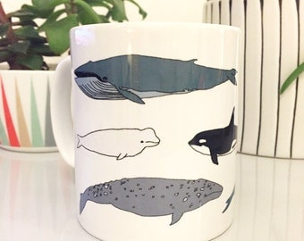 Whale illustrated mug - wildlife / nature / ocean printed gift - orca - narwhal - blue whale
