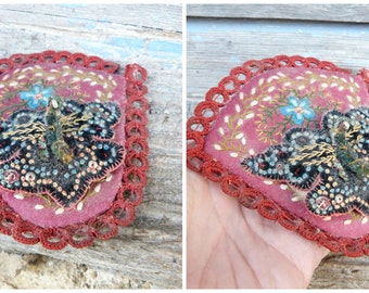 Vintage 1900/1920 French pin cushion butterfly/ handmade/ art populaire /one of kind