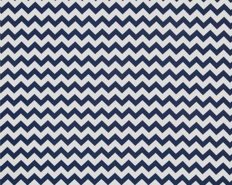 Chevron, Navy Blue White, Zig Zag Fabric, Cotton Quilting - FAT QUARTER
