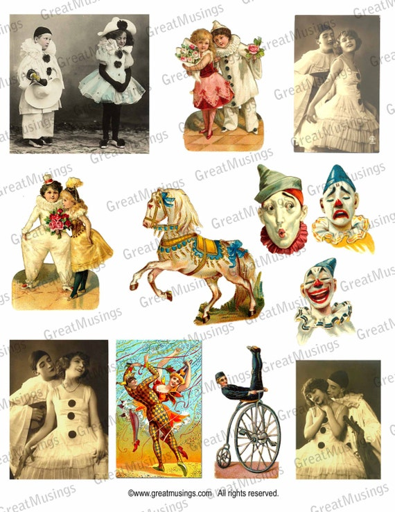 Circus Clowns vintage images Digital Download Collage Sheet graphics No.116