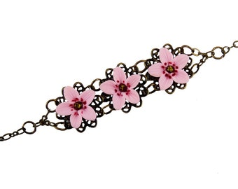Three Cherry Blossom Vintage Style Bracelet - Trio Cherry Blossom Jewelry Collection