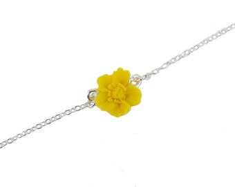 Yellow Buttercup Sterling Silver Anklet or Bracelet - Buttercup Ankle Bracelet Jewelry, Yellow Buttercup