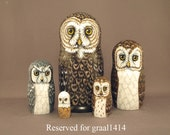 Reserved for graal1414 Nesting Doll Owls Set of 5