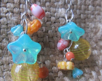 Handmade Faerie Earrings, Aqua Flower, Yellow And Orange Striped Sphere, Handmade By Susan Every OOAK