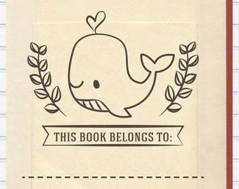 Whale Book Stamp, This Book Belongs to Stamp