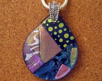 Dichroic Pendant - Fused Glass Pendant - Statement Pendant- Dichroic Jewelry - Fused Glass Jewelry
