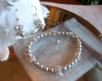 Swarovski Rhinestone and Grey Pearl Bracelet and Earring Set - Brides or Bridesmaid Jewelry Set - Wedding Jewelry/Choose your Color
