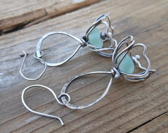 Light Blue Sea Glass Flower Earrings