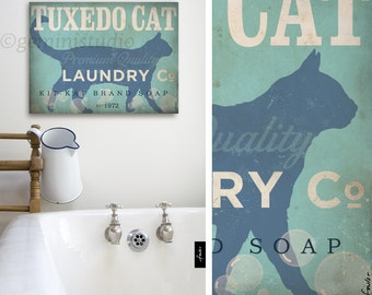 Tuxedo Cat Laundry Company illustration graphic art on canvas panel  by stephen fowler