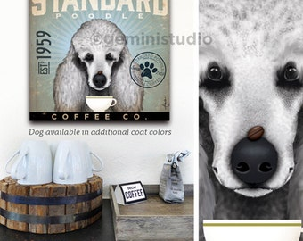 Standard Poodle dog Coffee Company graphic illustration on gallery wrapped canvas by Stephen Fowler