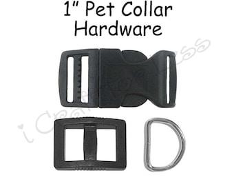 20  Dog Collar Hardware Kit - 1 Inch Black Slide Release Buckle, Triglide Slide and D-Ring - SEE COUPON