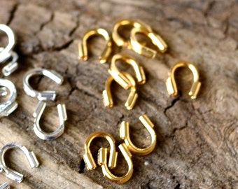 100 4x4mm Wire Guardians Choose Silver or Gold Plated Brass Wire and Silk Protectors against Friction