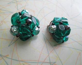 bottle green vintage 50s glass bead earrings clip bead earrings midcentury green and black germany 50s earrings golden germany 50s jewelry