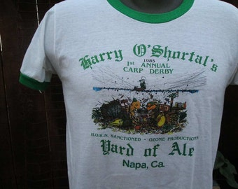 Vintage Irish Tshirt Green Ringer 80s Vintage Green St. Patricks Day Napa Fish Carp Derby T shirt Harry O'Shortals Yard of Ale tshirt  M