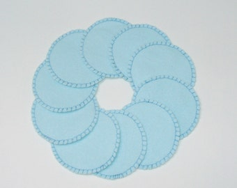 Make-up Remover Pads Lt. Blue Washable Reusable Cotton Rounds