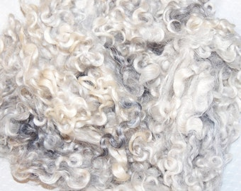 Cotswold Sheep Wool, Doll Hair, Doll Wigs, Locks for Spinning, Felting and Fiber Art in shades of Silver Gray 4 oz.