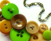 Winter sale Tan Nude and Neon Green Button Necklace