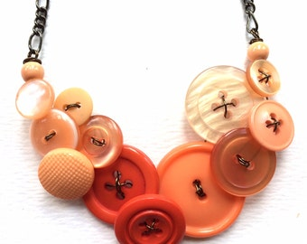 Warm Peach Orange Ombre Button Statement Necklace
