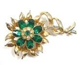 Coro Emerald Rhinestone Flower Brooch / Pendant, Green and Clear Rhinestones, Gold-tone, Vintage circa 1940s Costume Jewelry, May Birthday