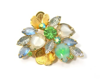 D&E Brooch, Green Blue White Mixed Style Rhinestones Set in Goldtone Metal, Floral Foliage, 1960s Colorful Rhinestone Jewelry Delizza Elster