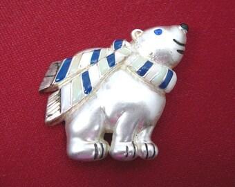 Polar Bear Brooch, Silver Enamel Wearing Striped Blue and White Neckscarf, Blue Rhinestone Eye, Winter Costume Jewelry
