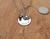 Hand Stamped Silver Mother's Necklace with Personalized Names with Circle Pendant, Birthstone Crystal and Heart Charm