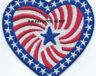 July 4th PATRIOTIC HEART  iron on applique patch Ready to Ship