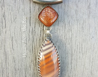 Australian Print Stone and Sunstone Pendant - Warm Nights - Silverwork