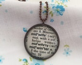 Midwife Word Necklace~Vintage Dictionary Word Charm Pendant~ Thank You Gift for a Midwife~Midwifery Keepsake Jewelry~Birth Assistant Present