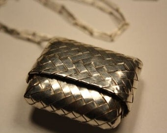 Necklace Sterling Silver Woven Box Long Silve Chain Necklace Collar en Plata 925 Hand Woven Silver Box Sterling Silver Jewelry