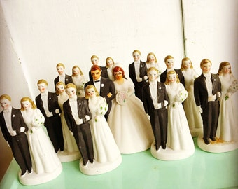 For Better or Worse... Vintage Bisque Bride and Groom Couple Bisque Ceramic Wedding Cake Topper Bell Keepsake Occupied Japan
