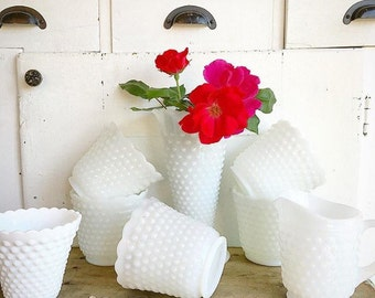 How Does Your Garden Grow... Two Vintage White Hobnail Milk Glass Planters Cache Pots