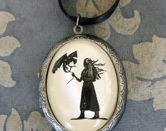 Sale 20% Off // Game of Thrones Khaleesi Locket Necklace - locket pendant on ribbon - Silhouette Jewelry // Coupon Code SALE20