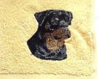 Rottweiler Dog Embroidered Hand Towel
