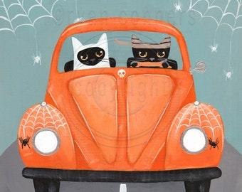 Halloween CATS, Road Trip, Driving Cats, Original Halloween Cat Folk Art Painting