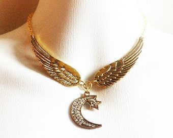 Wing Choker Stevie Nicks Inspired Necklace Crescent Crystal Moon And Star Bohemian Fashion Jewelry Boho Style